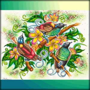 3) Gemälde: *Paradiesvogel- Malerei*