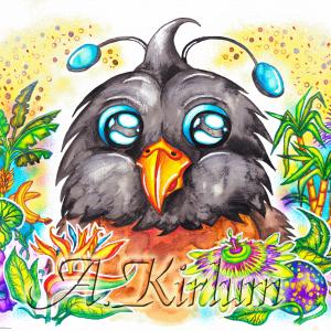 Paintings - Animals - Piepsi der Paradisvogel